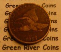 1857 Flying Eagle  Cent  Coin  #L57   better grade