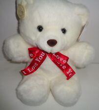 "Teddy Bear I LOVE YOU NWT White Red Heart Ganz 12"""