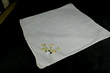 Vintage Pale Yellow Hanky Yellow Orange Flower Embroidered Floral