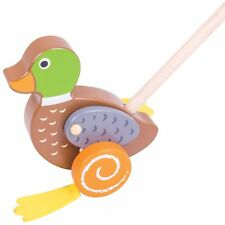 Bigjigs Baby Push Along Kids / Child Balance Wooden Animal Toy - Duck