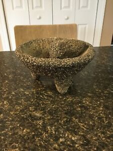 Vintage Heavy Granite Stone Mortar & Pestle Spice Grinder Herb Pill Crusher