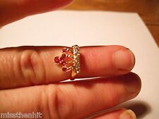 New Gold Plated Queen Crown Dark Pink & Crystal Rhinestone Adjustable Ring