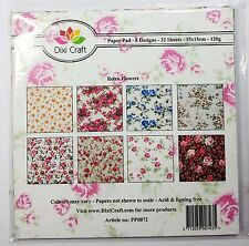 Dixi Craft paper pad - Retro Flowers - 6x6 inch - 32 sheets