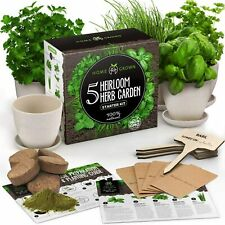 New ListingIndoor 5 Herb Seeds Gardening Kit with Bamboo Planting Pots & Potting Soil