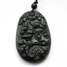 Coins Black Green Jade Amulet Pendan Happy Lucky Five Rats Ruyi Bat