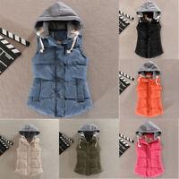 Hooded Jacket Hoodie Coat Warm Winter Outerwear Womens Sleeveless Vest Casual