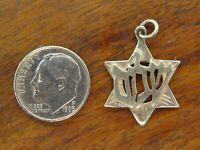 Vintage silver HEBREW SHALOM JEWISH JUDAIC STAR OF DAVID PENDANT charm