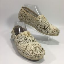 TOMS Women��s Crochet Lace Ivory Off-white Slip On Shoes Size 7.5