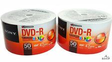 100 Sony DVD-R 16x Inkjet White Printable Disc 120 min 4.7gb Plastic In Wrap