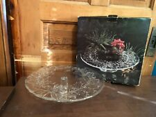 Vintage Glass Christmas Holly Wreath Cake Stand With Box Made In Italy