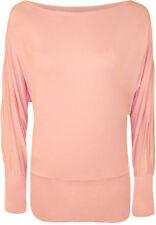 Magliette da donna a manica lunga in cotone rosa
