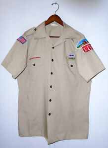 BOY SCOUTS Of America Uniform Shirt BSA #116 Scout Vtg USA Adult Mens : LARGE Lg