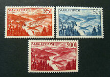 """GERMANIA,Germany SARRE SAAR 1948 """" Aereo in volo e vedute """" 3V.Cpl set MH/Used"""