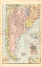 1893 Antique Map - South America South, Argentina, Chile, Falklands, Valparaiso