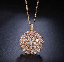18k Gold Pendant Necklace made w/ Swarovski Crystal Stone Bridal Wedding Jewelry