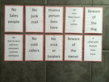 Front door sign , beware of , no free papers , no sales man and so on .