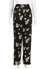 ZARA Satin Pants Small Black Flower Floral Elastic Straight Velvet Tuxedo Stripe