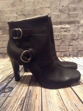 NEW in BOX Nine West SHIONA BLACK Leather High Heel Boots Bootie w/ BUCKLES 12M