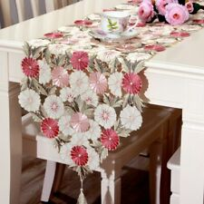 Embroidered Daisy Floral Cutwork Table Runner Tablecloth Home Textile Decoration
