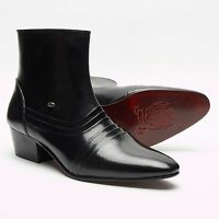 MENS LUCINI LEATHER CUBAN HEEL ANKLE BLACK BOOTS,ZIP FASTENING,SIZES 6-11 6006