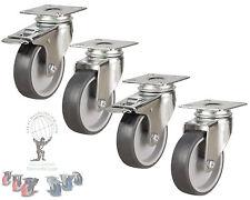 75mm Rubber Swivel Castor Wheels With Brake Furniture Caster Heavy Duty Set