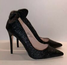 Primark Disney Minnie Mouse Inspired Glittery Stilettos Size 8 Black Heels NEW