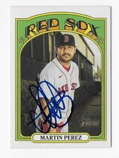 2021 TOPPS HERITAGE #62 MARTIN PEREZ RED SOX AUTOGRAPHED SIGNED BASEBALL CARD
