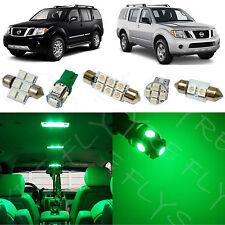 7x Green LED lights interior package kit for 2005-2012 Nissan Pathfinder NP1G