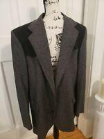 Pendleton Gray Western Blazer Sport Coat Jacket 44 Wool Suede Trim Elbow Patches
