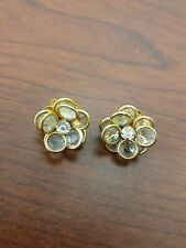 Vintage Gold Toned Floral Glass And Rhinestone Pierced Earrings