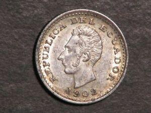 ECUADOR 1902 1/2 Decimo Silver AU-Unc