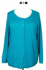 CATHERINES WOMEN'S TEAL LONG SLEEVE BUTTON CARDIGAN SWEATER PLUS Sz 2X 22/24W