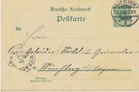 "DT.REICH ""BAD ELSTER / 1"" K2 5 Pf Kab.-GA-Postkarte n ""MUENCHBERG"" (MÜNCHBERG)"