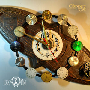 """Wooden Wall Clock """"The Galaxy"""" Recycle Eco Old Natural wood Unique item"""