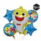 5x Shark Foil Balloons Star Helium Decorations Set For Baby Kids Birthday Party