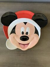 Disney Mickey Mouse Santa Christmas Plate Serving Cookies Holiday Hat Head Claus