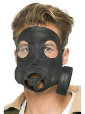 Gas Mask Costume Prop Fake Respirator Black Latex Mens Adult Army Halloween NEW
