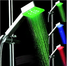 Chrome Bathroom Handheld Shower Head with Temperature Sensor Control LED Light