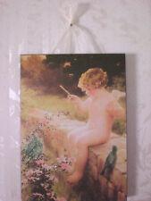 Vintage Cherub Fairy & Birds Postcard Plaque Shabby