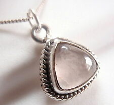 Small Rose Quartz Triangle Necklace 925 Sterling Silver with Rope Style Accents
