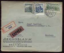 CZECHOSLOVAKIA 1934 EXPRESS REG.ADVERT COVER to AUSTRIA