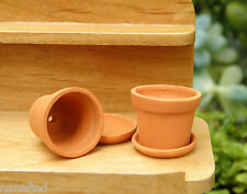Miniature Dollhouse FAIRY GARDEN Accessories ~ Set of 2 Pots with Saucers