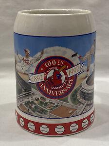 Anheuser Busch 1992 St Louis Cardinals Baseball 100th Anniversary Beer Stein
