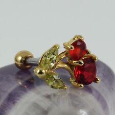 Cartilage Bar Helix Earring Yellow Gold Motif Siam & Peridot Crystal 1.2 x 6mm