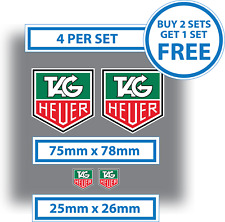4 X TAG HEUER Stickers 2 x 75mmx 78mm and 2 x 25mm x 26mm Vinyl Logos Decals