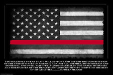 Thin Red Line Oath of Office American Flag 24x36 Inch Poster