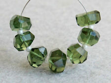 AAA Natural Green Apatite Faceted Nugget Precious Gemstone Beads 9-10mm.