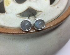Rainbow Labradorite Wire Wrapped Studs Labradorite Studs 925 Sterling Silver