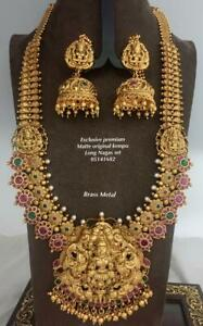 Indian Gold Plated Long Bridal Temple Necklace Earring Fashion Jewelry Setg