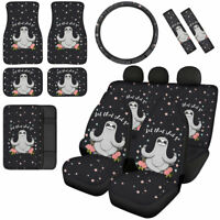 Funny Sloth Pattern Car Seat Covers Combo Set + Floor Mats + Seat Belt Pads